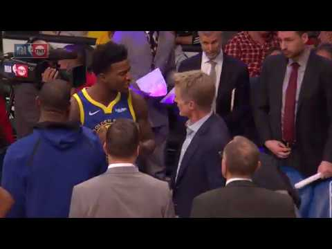 Steve Kerr and Jordan Bell Having a Heated Exchange | Warriors vs Lakers - January 21, 2019