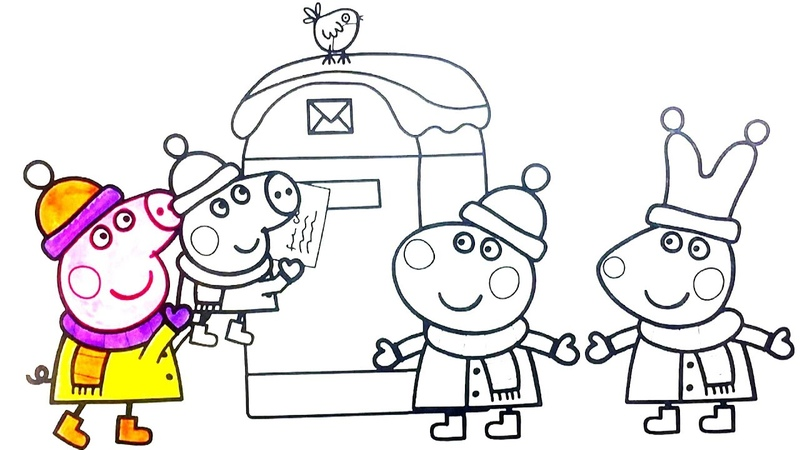 Children coloring Peppa Pig with friends send a letter to Santa