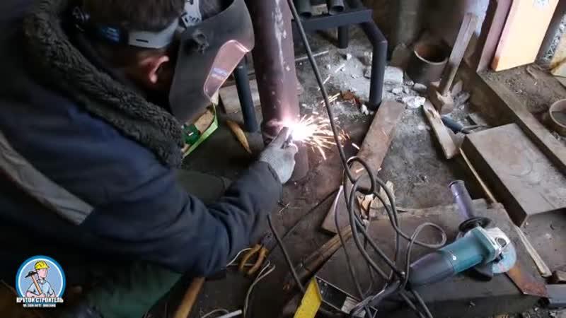 Отопление гаража.Супер печь из труб 85 КПД. Дымоход своими руками