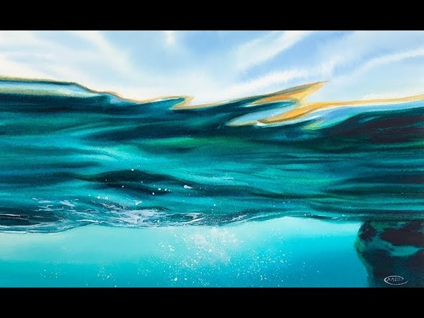 Water Painting in Watercolor (Waves and Sky)