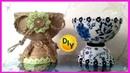Необычные вазы из джута и под гжель своими руками из бросового материала