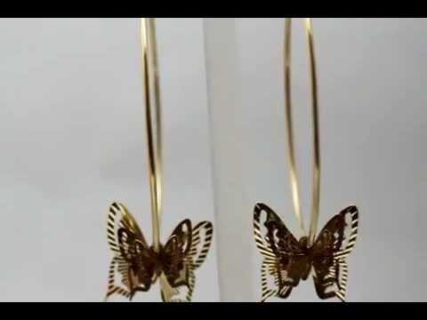 Серьги-кольца с бабочками из желтого золота