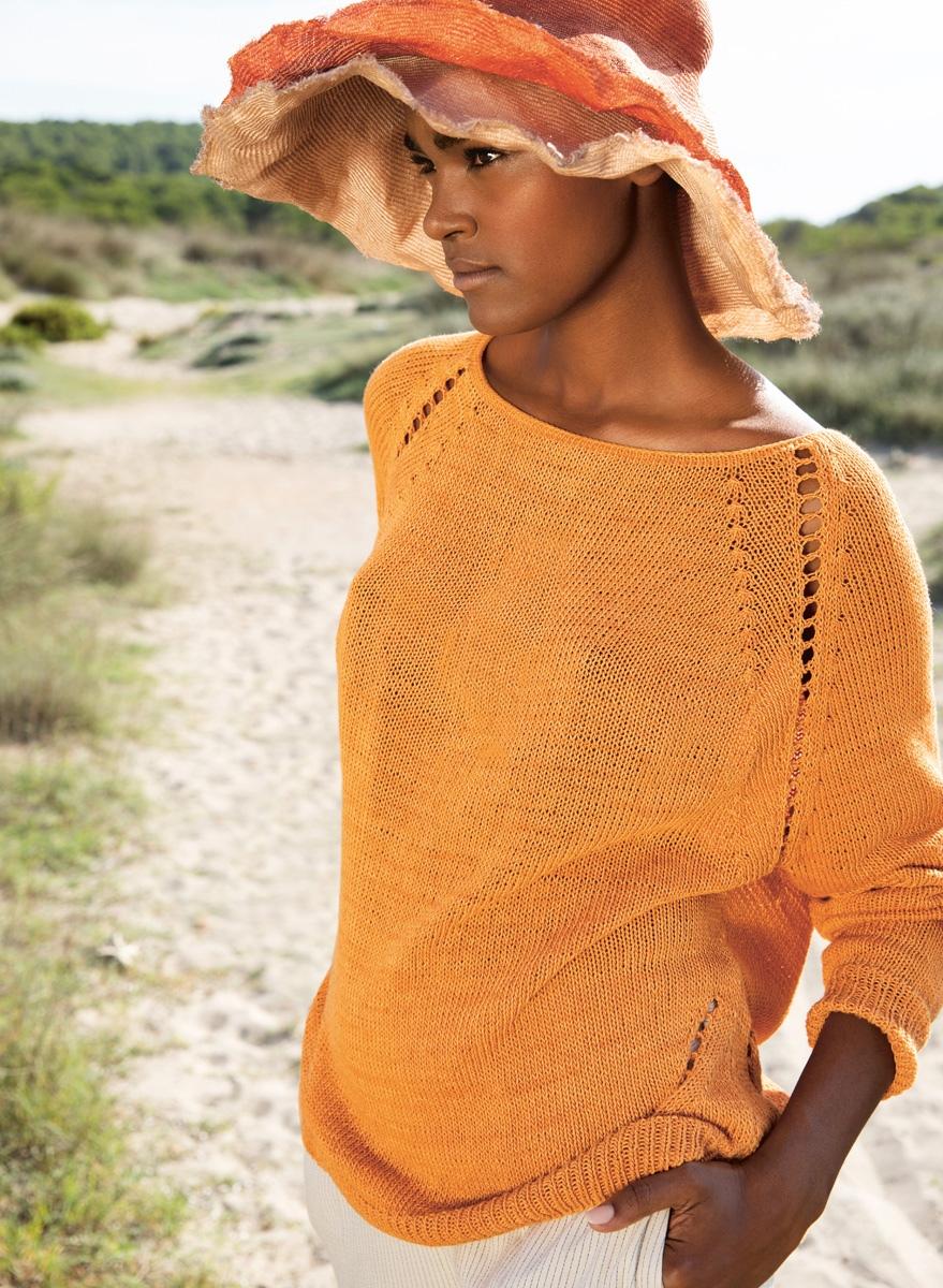 вязаный спицами летний пуловер-реглан Solo Lino