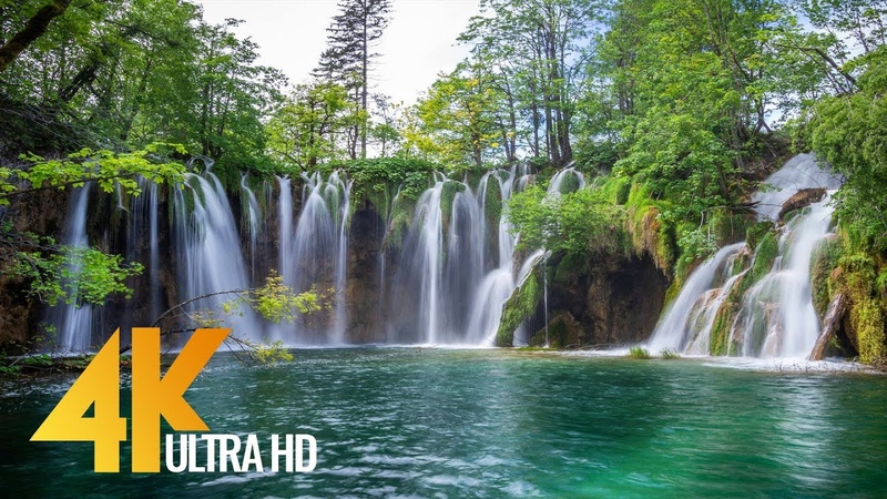 4K Plitvice Lakes - Crystal Waters of Croatian Lakes - Ultra HD Relaxation Video