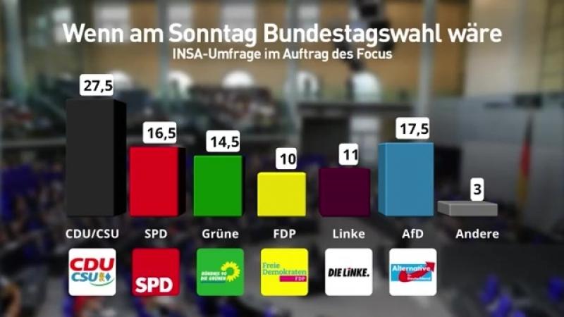 ► Union und SPD nur noch bei 44 Prozent - AfD weiterhin zweitstärkste Kraft