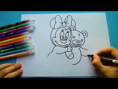 Сolorear para niños dibujar Minnie mouse/Drawing for kids little Minnie mouse painting