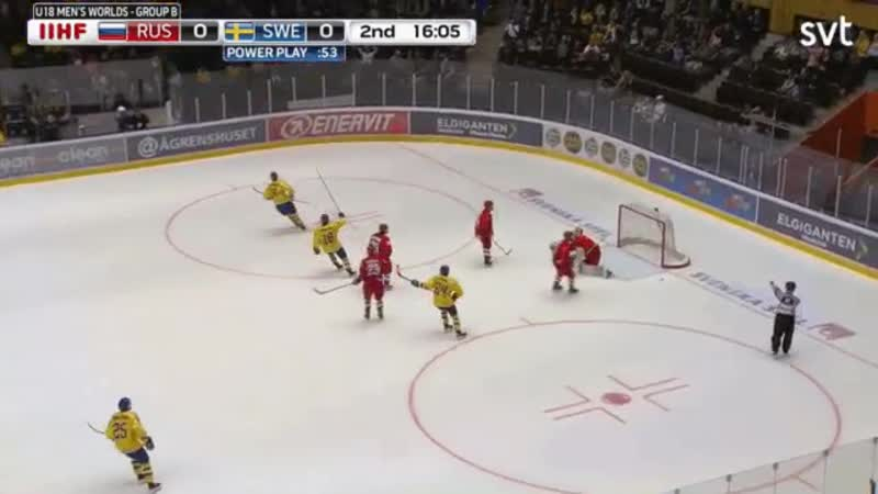Coast to coast goal by AIK prospect Philip Broberg for Sweden against Russia