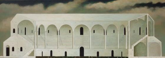 Превосходя реальность Minoru Nomata Он рисует сооружения, стоящие спокойно в естественных условиях, без присутствия человеческих фигур. Они источают чувство дежавю, хотя на самом деле они не