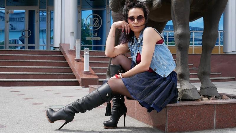 Kristina walks in round toe platform high heels Gianmarco Lorenzi boots Size EU 37,5 US 7,5