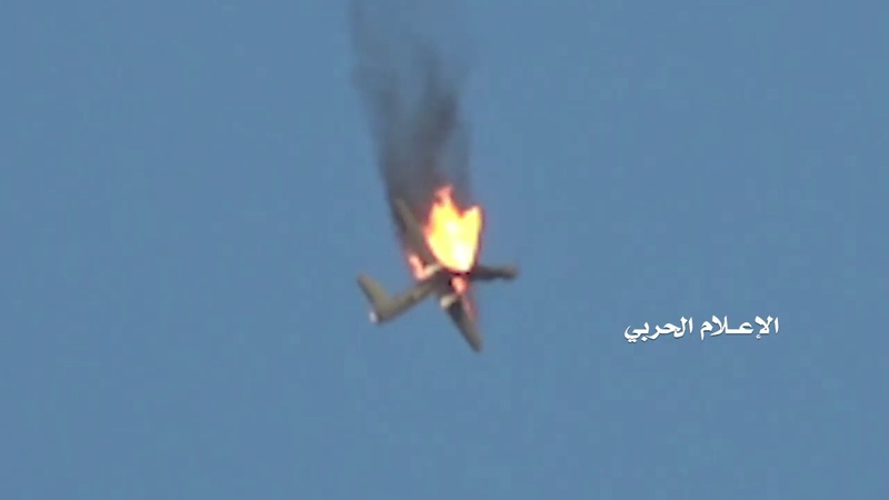 Saada - the moment of dropping an espionage aircraft fighter to attack with a suitable air-to-air missile and fall on the farm of the martyr martyr