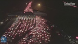 Aerial view of traffic gridlock in Guangdong ahead of Lunar New Year