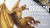 Watercolor gold dragon - speed painting. With metallic addition!