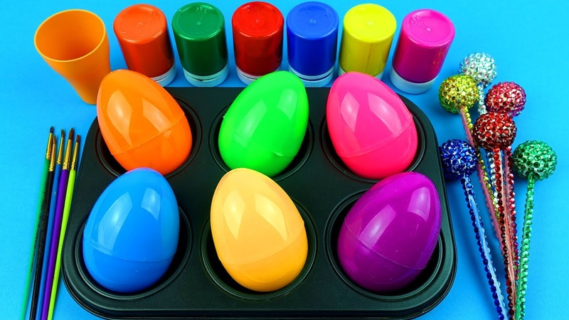 Learn colors with Magic Frozen Paint Balls and Surpise Eggs and Toys