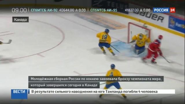 Новости на Россия 24 • Хоккейная молодежка России выиграла бронзу чемпионата мира