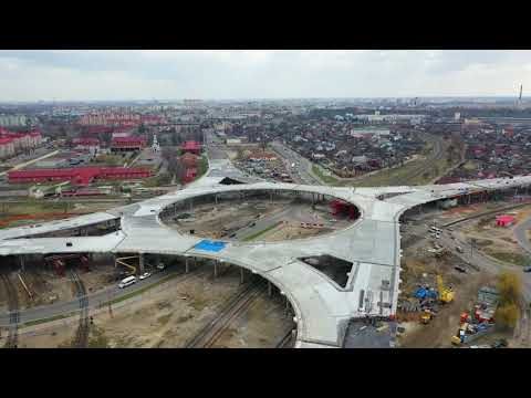 Строительства путепровода Западный обход г. Бреста март 2019 4К
