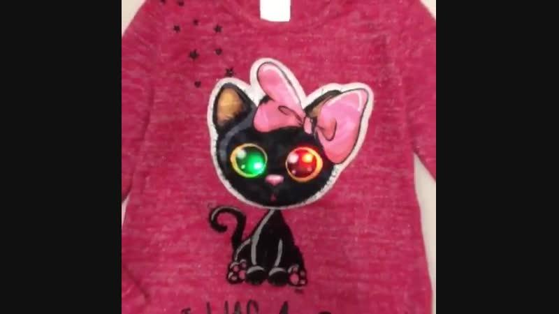 Кошка на кофточке со светящимися глазами