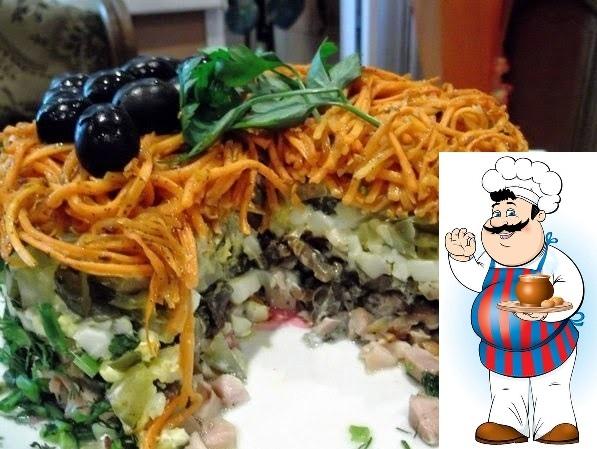 салат «изабелла» ингредиенты: копченый окорочок 2 штуки; яйца куриные 5 штук; шампиньоны 500 грамм; лук репчатый 2 головки; соленые огурцы 3 штуки; морковь по-корейски. приготовление: яйца