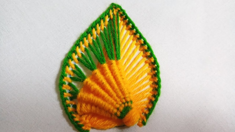 Hand embroidery of a leaf or a petal