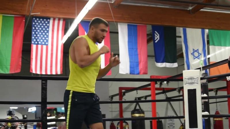 Vasyl Lomachenko with surgeon like precision while shadow boxing for Jose Pedraza fight