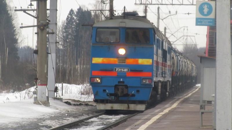 ЭП10-004 с поездом№121В Москва-Брянск, 2ТЭ116-881 БТС с грузовым станция Бекасово-1 8.03.2019