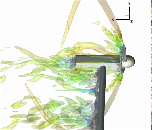 CFD wind turbine simulation with varying blade pitch at 15ms (rotor view)