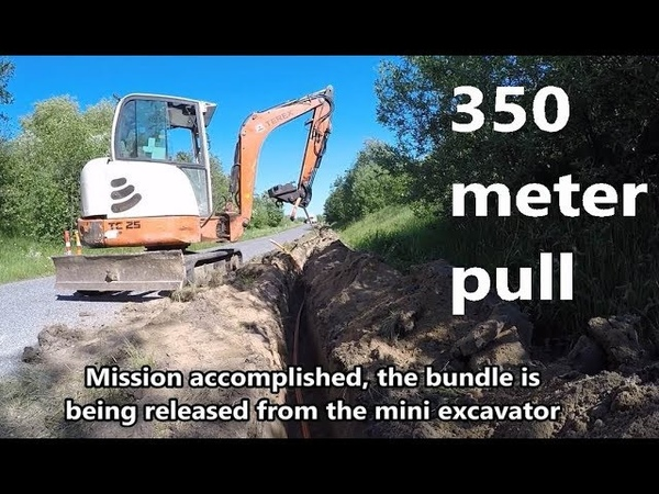 How to A 7 x 1410 GM Plast Multiduct installation 350 meter pull by mini excavator