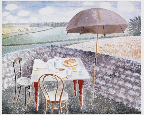Эрик Равилиоус (Eric Ravilious,1903 – 1942) — английский художник, гравер и дизайнер. Он получил образование в Истборне школе искусств, а затем в Королевском колледже искусств. #акварель@art_shoc,