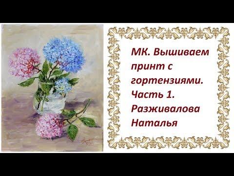 МК. Вышиваем принт с гортензиями. Часть 1. Материалы. Тонировка листьев и отдельных цветочков.