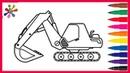 Рисуем экскаватормультикРаскраски для детей.Draw an ExcavatorCartoonColoring Pages