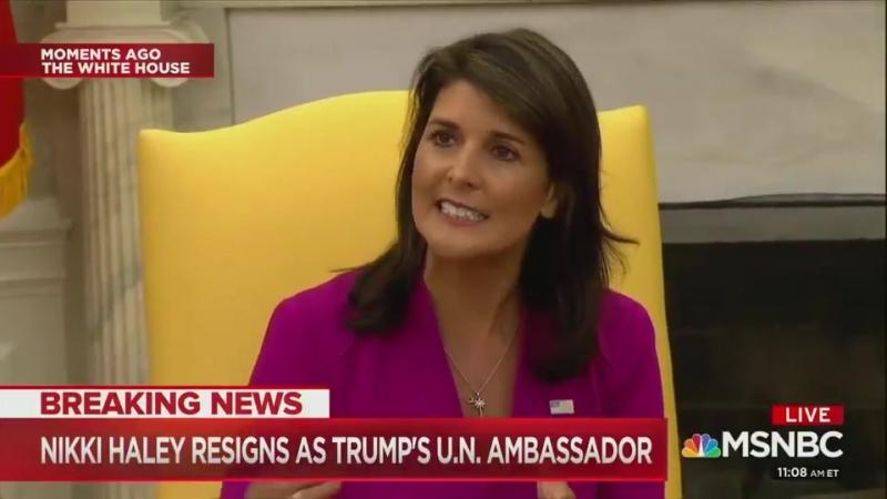 Démission surprise de Nikki Haley en tant qu'ambassadeur de l'ONU
