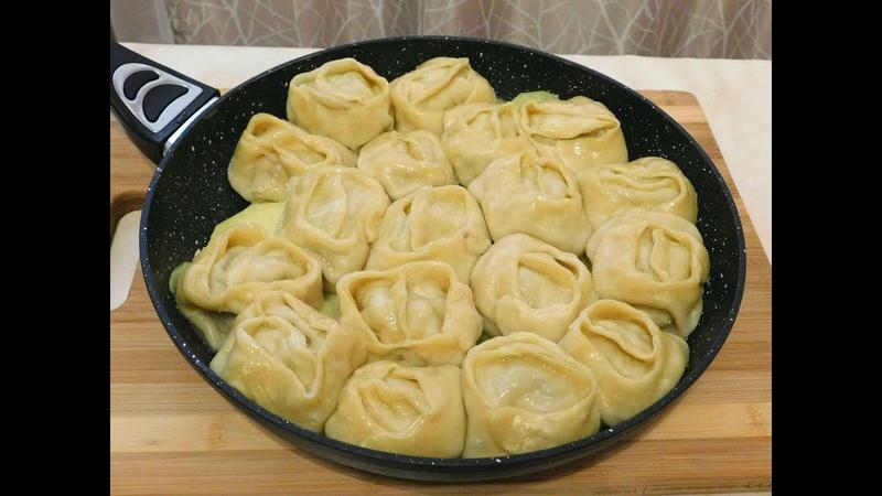 Настоящие Сибирские Манты в сковороде с двумя начинками.!!