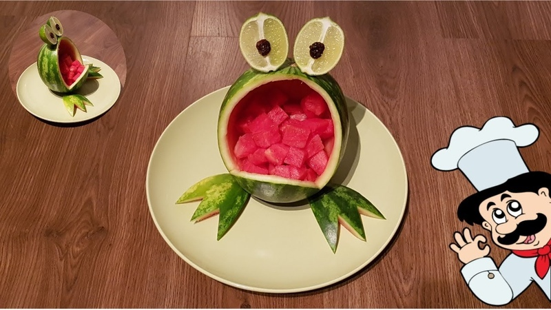 How to carving animals by watermelons - watermelon frog cartoon - carving fruits and vegetables