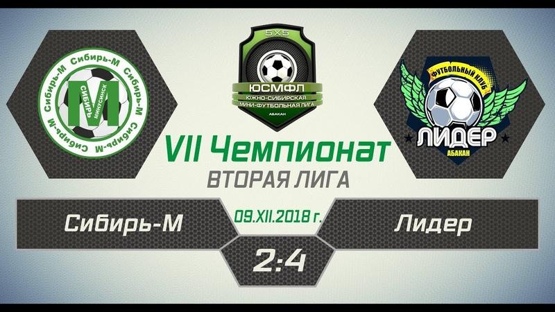 VII Чемпионат ЮСМФЛ. Вторая лига. Сибирь-М - Лидер 2:4, 09.12.2018 г. Обзор