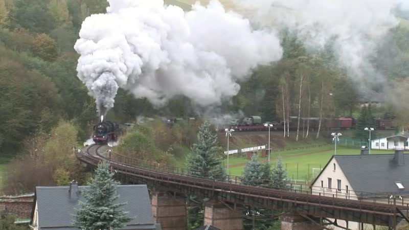 50 3616 mit einem Militärzug über das Markersbacher Viadukt 2010 Dampflok