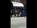 Melissa Benoist.. Nicole maines and Jesse Rath get out of car