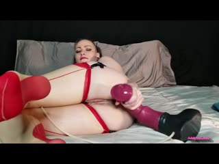 Anal creampie with chance flared dildo