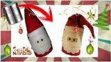 Como decorar Latas para navidad - PAPA NOEL CON RECICLAJE