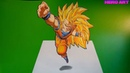 Drawing Son Goku ssj3-3d-illusion-How to draw dragon ball