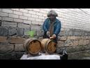 Бочки 20 литров Покрываю воском бочку Жгу серный фитиль Заливаю вино в бочку