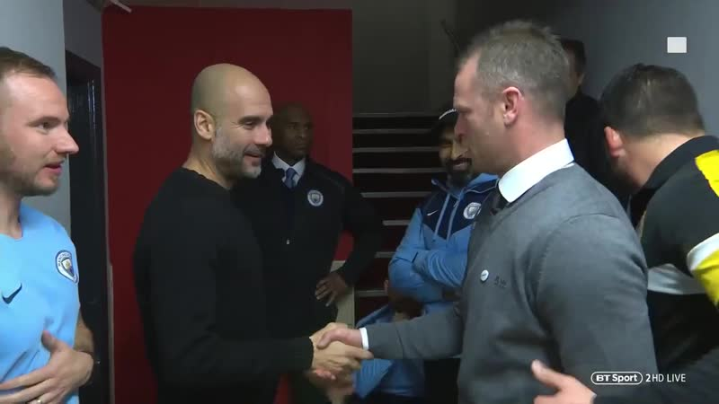 Total respect as Newport manager Mike Flynn meets Pep Guardiola in the tunnel 👏