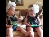 Разная реакция близнецов на песню (хорошее настроение, смешное видео, дети, детки, ребенок, танцы, семья, девочки, танцует).