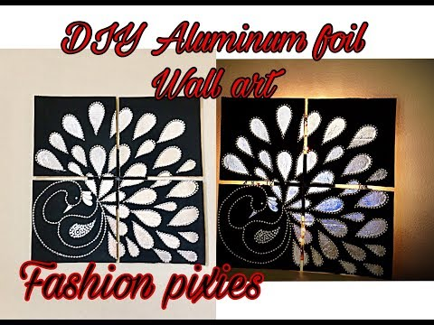 Diy 4-in-1 large aluminum foil wall artpeacock wall decorInexpensive home decor fashion pixies