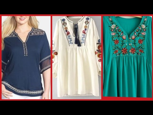 Stylish Comfertable Embroidered Tunic Style Frocks Designs