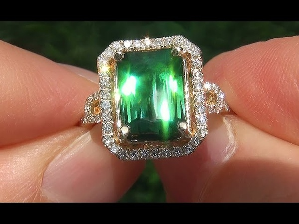 Estate Certified FLAWLESS Natural Green Tourmaline Diamond 14k Yellow Gold Ring - A141716