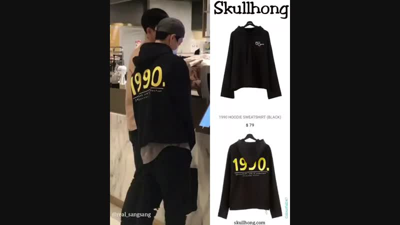 NCT Ten was wearing Hongki's Skullhong 1990 Hoodie Sweatshirt (Black)😊