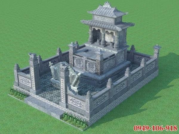 Bản vẽ phối cảnh mẫu thiết kế lăng mộ đôi xây bằng đá cho ông bà