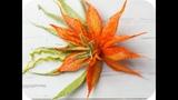 How to DIY felting tutorial on a flower. Spiky Orange Flower - Felted Brooch
