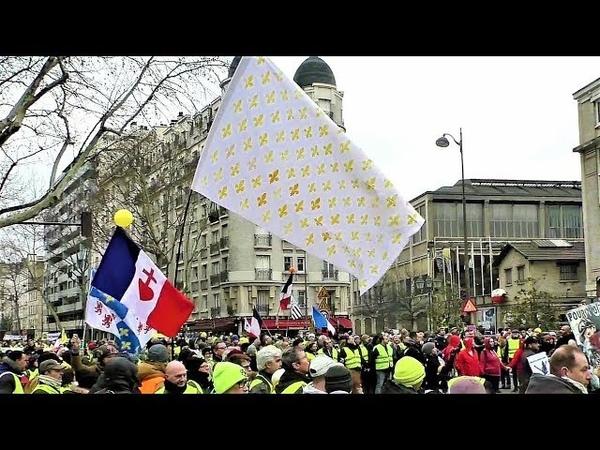 Tension lorsqu'un homme brandit un drapeau avec des fleurs de lys - Gilets jaunes Acte 12 -2.02.2019