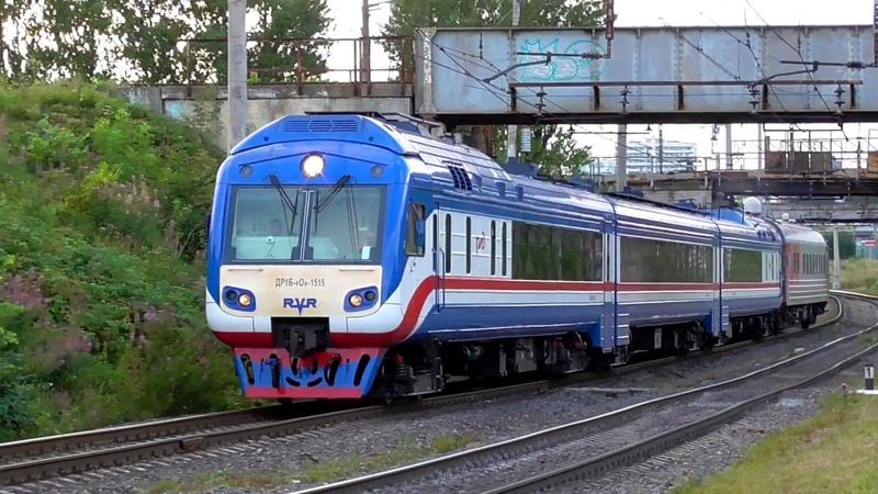 Дизель-поезд ДР1Б-1515 с пассажирским вагоном