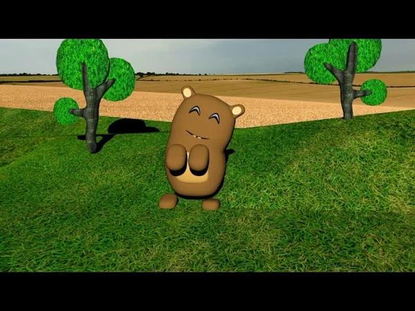 мишка танцует в поле,анимация в blender